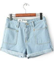 Blue Flange Pockets Denim Shorts