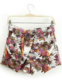White Zipper Floral Skirt Shorts