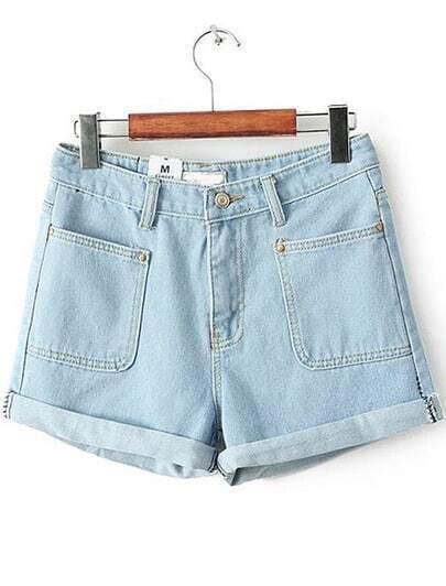 Blue Flange Pockets Denim Shorts