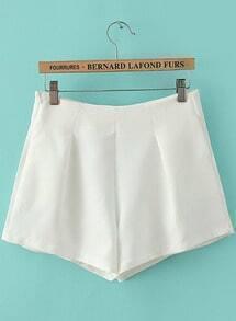 White High Waist Side Zipper Pockets Shorts
