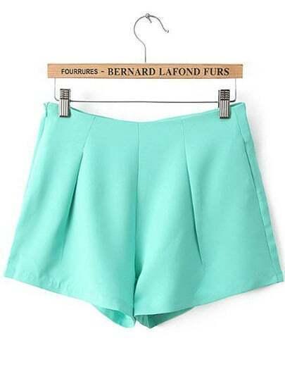 Green High Waist Side Zipper Pockets Shorts