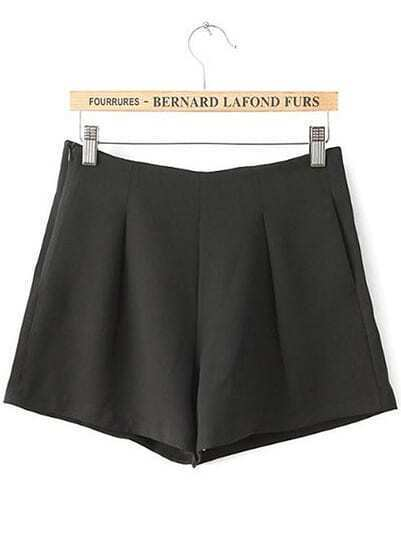 Black High Waist Side Zipper Pockets Shorts