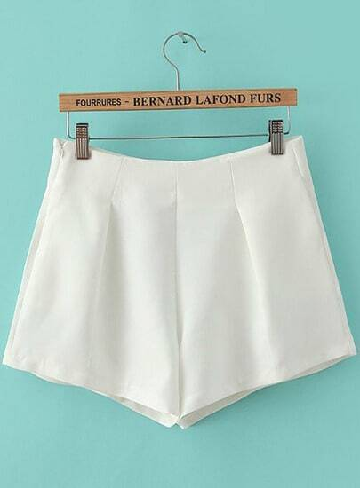 White High Waist Side Zipper Pockets Shorts