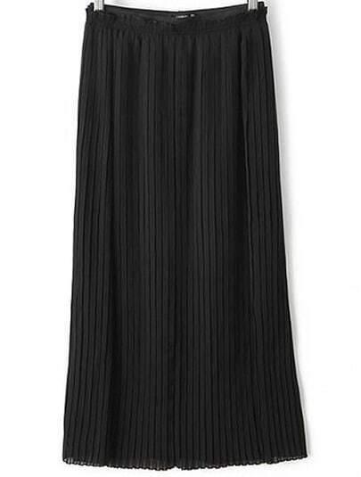 Black Pleated Split Skirt