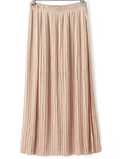 Beige Pleated Split Skirt