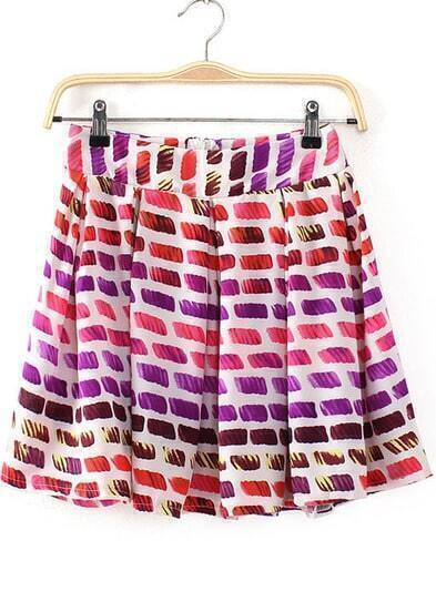 Rose Red Zipper Pleated Geometric Print Skirt