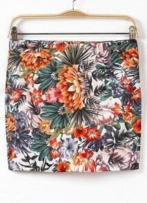 White Zipper Floral Bodycon Mini Skirt