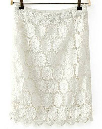 White Zipper Floral Crochet Lace Skirt