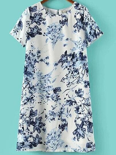 White Short Sleeve Blue Floral Slim Dress