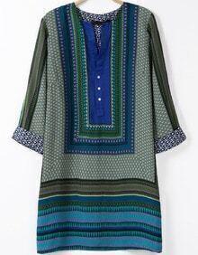 Green V Neck Half Sleeve Vintage Print Dress