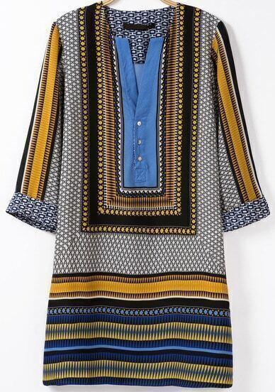 Blue V Neck Half Sleeve Vintage Print Dress