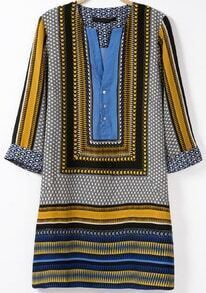 Blue V Neck Half Sleeve Vintage Print Dress