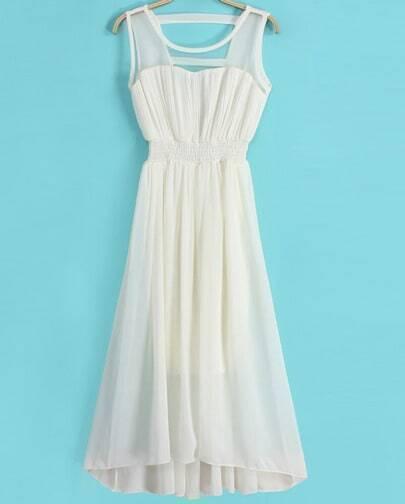 Beige Sleeveless Contrast Gauze Chiffon Pleated Dress