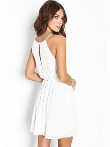 White Off the Shoulder Back Split Dress