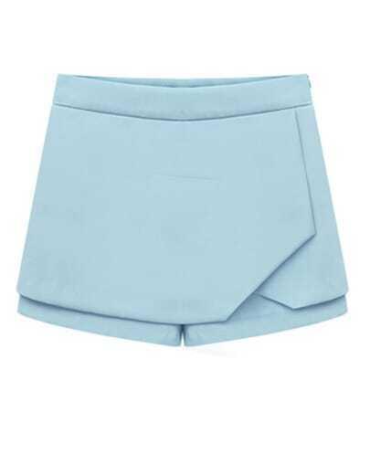 Blue Mid Waist Chiffon Shorts