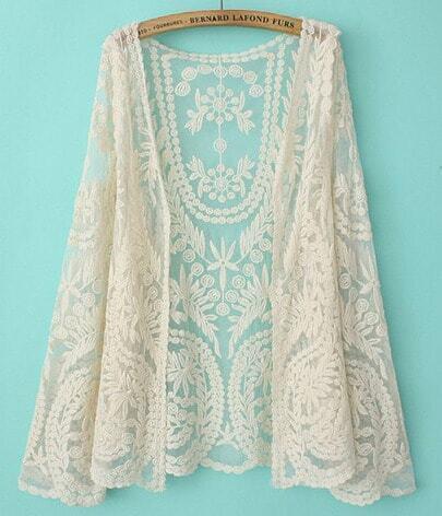 Beige Long Sleeve Lace Cardigan Blouse