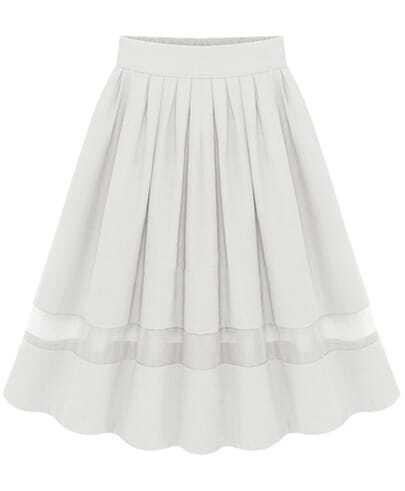 White Contrast Mesh Yoke Pleated Skirt