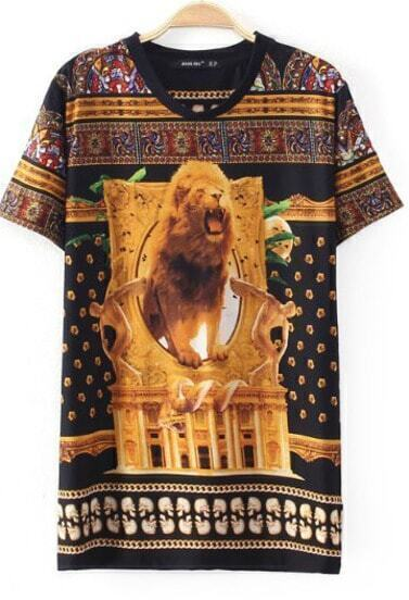 Black Short Sleeve Lion Print T-shirt