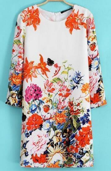 Beige Three Quarter Length Sleeve Florals Dress