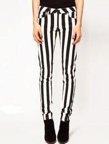 Black and White Vertical Stripes Skinny Denim Pant