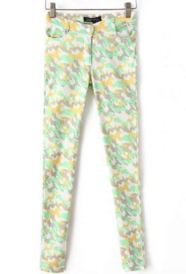 Green and Yellow Camouflage Skinny Pant