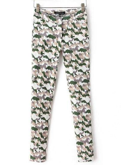 Dark Green and Grey Camouflage Skinny Pant