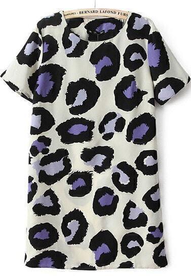 Beige Short Sleeve Leopard Print Dress