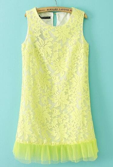 Neon Green Sleeveless Embroidery Contrast Hem Organza Dress