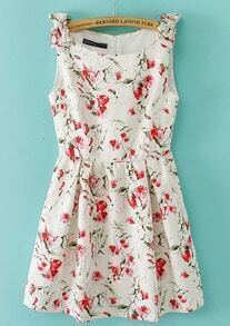 Beige Sleeveless Bowknot Shoulder Florals Print Dress
