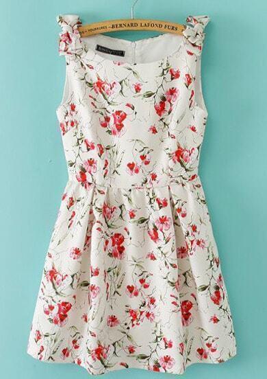Beige Sleeveless Bowknot Shoulder Florals Print Dress