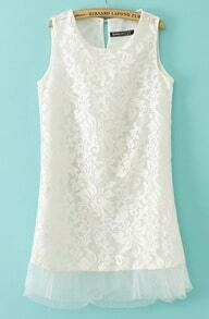 Beige Sleeveless Embroidery Contrast Hem Organza Dress