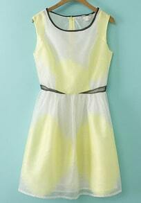 Yellow and White Sleeveless Organza Dress