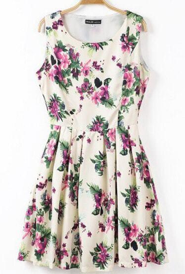 Beige Sleeveless Florals Print Pleated Dress