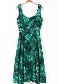 Green Straps Florals Print Long Dress