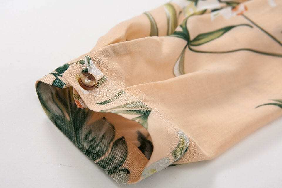Yellow Long Sleeve V-neck Flower Print Blouse -SheIn(Sheinside