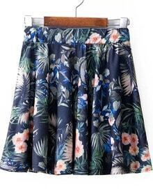 Navy Florals Print Pleated Short Skirt