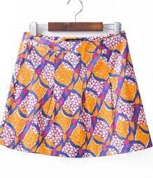 Orange Print Pleated Short Skirt