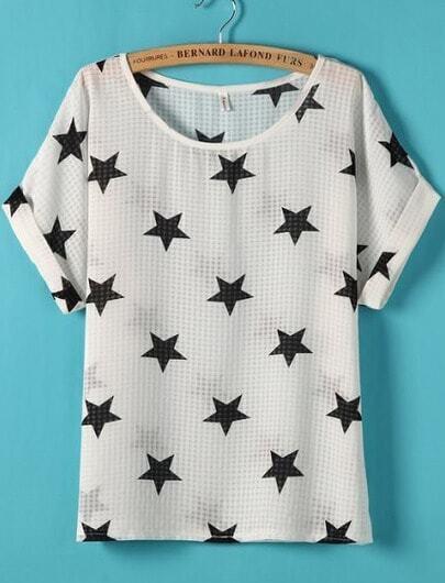 White Short Sleeve Stars Print Blouse