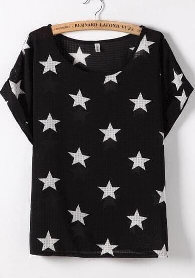 Black Short Sleeve Stars Print Blouse