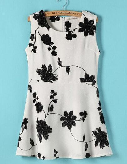 Beige Embroidered Flower Sleeveless Dress