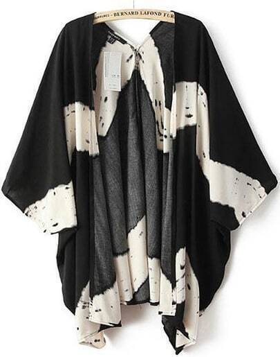 Black White Batwing Sleeve Striped Blouse