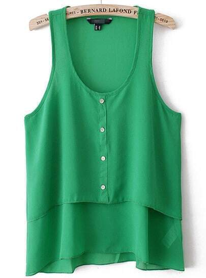 Green Sleeveless Buttons Chiffon Blouse