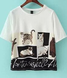 White Short Sleeve Cat Letters Print T-Shirt