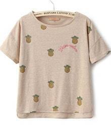 Apricot Short Sleeve Pineapple Embroidered T-Shirt