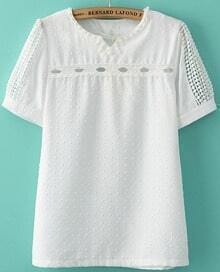 White V Neck Hollow Lace Short Sleeve T-Shirt