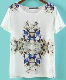 White Short Sleeve Rhinestone Floral Split T-Shirt