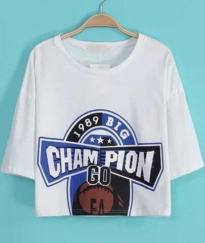 White Short Sleeve CHAMPION Print Crop T-Shirt
