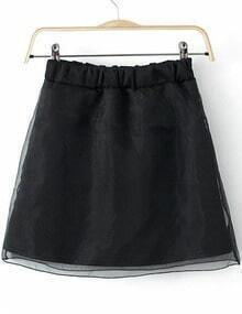 Black Elastic Waist Mesh Yoke Skirt