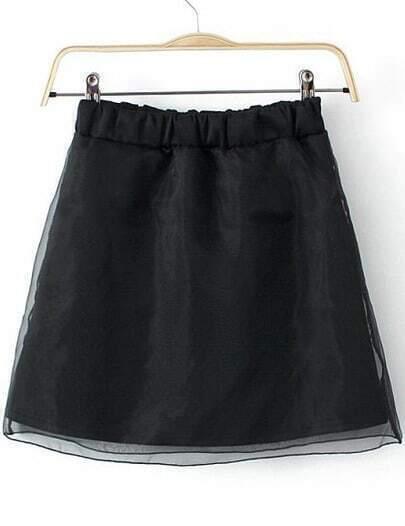 Black Elastic Waist Mesh Yoke Skirt