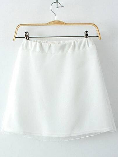 White Elastic Waist Mesh Yoke Skirt